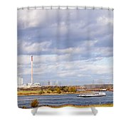 Barges On River Rhine At Duisburg Germany Europe Shower Curtain
