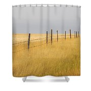 Barley Field And Fenceline, Southern Shower Curtain