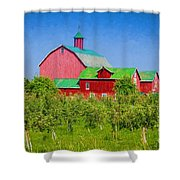 Barn And Apple Orchard Shower Curtain