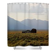 Barn And Mountains Shower Curtain