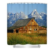 1m9394-barn And The Tetons Shower Curtain