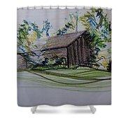 Old Barn At Wason Pond Shower Curtain