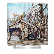 Barn By The Tree Shower Curtain
