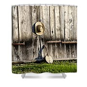 Barn Door And Banjo Mandolin Shower Curtain by Bill Cannon