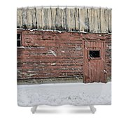 Barn Door In Winter Shower Curtain