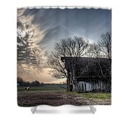 Barn In A Field With A Horse Shower Curtain