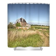 Barn In A Field With Hay Bales Shower Curtain