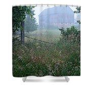 Barn In Fog Shower Curtain