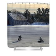 Barn In Snow In Color Shower Curtain by Donna Doherty