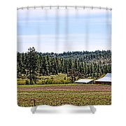 Barn In The Trees Shower Curtain