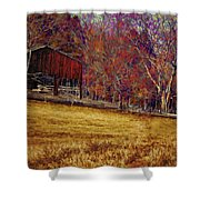 Barn In The Woods-featured In Barns Big And Small Group Shower Curtain
