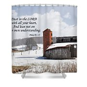 Barn In Winter With Scripture Shower Curtain