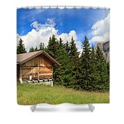 barn on Alpine pasture Shower Curtain