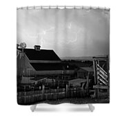 Barn On The Farm And Lightning Thunderstorm Bw Shower Curtain by James BO  Insogna