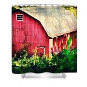Barn Red Sunset Shower Curtain