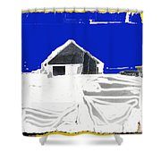 Barn Snow Storm Rc Guss Photo 1951 Collage St. Paul Park Minnesota Color Drawing Added Shower Curtain
