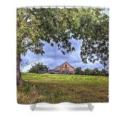 Barn Under A Tree. Shower Curtain