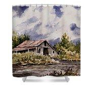 Barn Under Puffy Clouds Shower Curtain