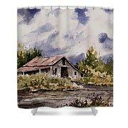 Barn Under Puffy Clouds Shower Curtain