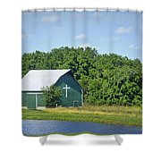 Barn With A Cross Shower Curtain by Cricket Hackmann