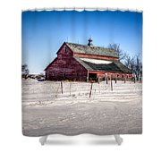 Barn With Melting Snow Shower Curtain