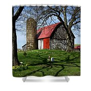 Barn With Silo In Springtime Shower Curtain