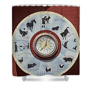 Barn Yard Clock Shower Curtain