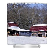 Barns And Horses In Winter Shower Curtain