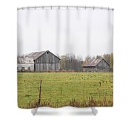 Barns In The Mist Shower Curtain