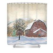 Barns In Winter Shower Curtain