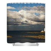 Barns Ness Lighthouse  East Lothian Shower Curtain