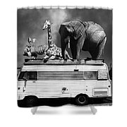 Barnum And Bailey Goes On A Road Trip 5d22705 Vertical Black And White Shower Curtain