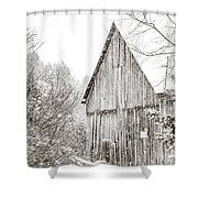 Barnyard Snowfall Shower Curtain