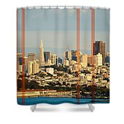 Barred City Shower Curtain