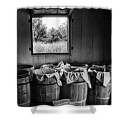 Barrels Of Beans - Bw Shower Curtain