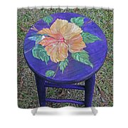 Barstool Hibiscus Shower Curtain