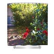 Bartram Red Flowers Shower Curtain