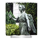 Barzaghi Memorial Side View II Detail Monumental Cemetery Shower Curtain
