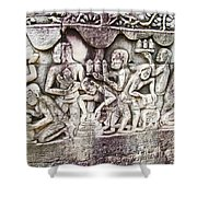 Bas-reliefs Of Khmer Daily Activities In The Bayon In Angkor Thom-cambodia  Shower Curtain