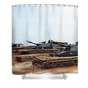 Base Camp Artillery Guns Self-propelled Howitzer M109 Camp Enari Central Highlands Vietnam 1969 Shower Curtain