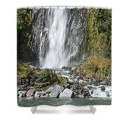 Base Of Thunder Creek Falls Shower Curtain