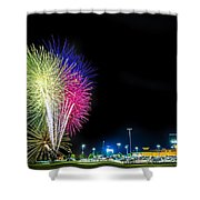 Baseball And Fireworks Shower Curtain