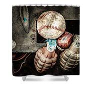 Baseball And Hand Grenades Shower Curtain