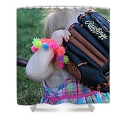 Baseball And Little Girls Shower Curtain