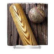Baseball Bat And Ball Shower Curtain