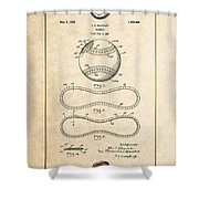 Baseball By John E. Maynard - Vintage Patent Document Shower Curtain