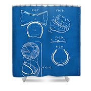 Baseball Construction Patent 2 - Blueprint Shower Curtain