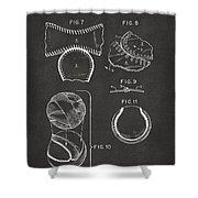 Baseball Construction Patent 2 - Gray Shower Curtain