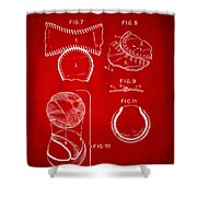 Baseball Construction Patent 2 - Red Shower Curtain by Nikki Marie Smith