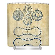 Baseball Construction Patent - Vintage Shower Curtain